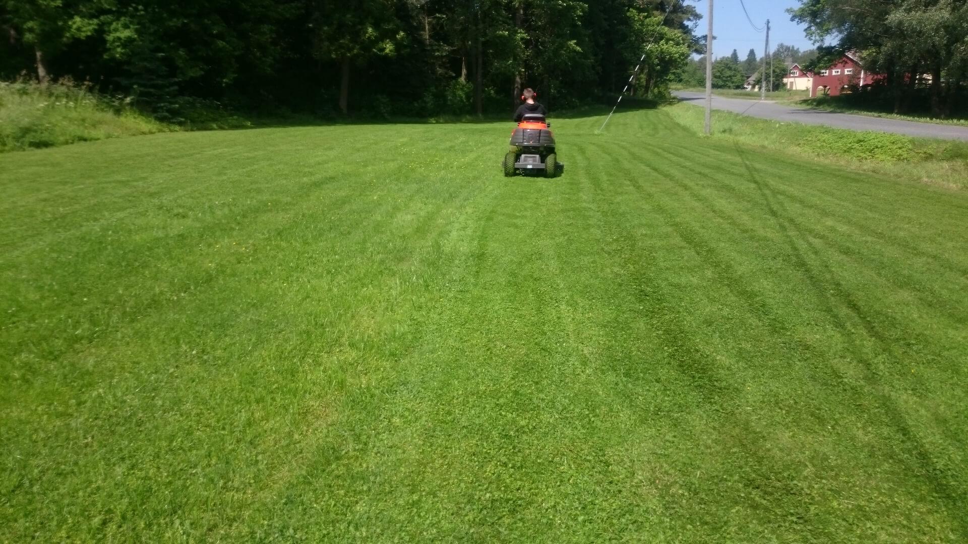 Med en åkgräsklippare lyckas gräsklippning även av större gräsmattor.