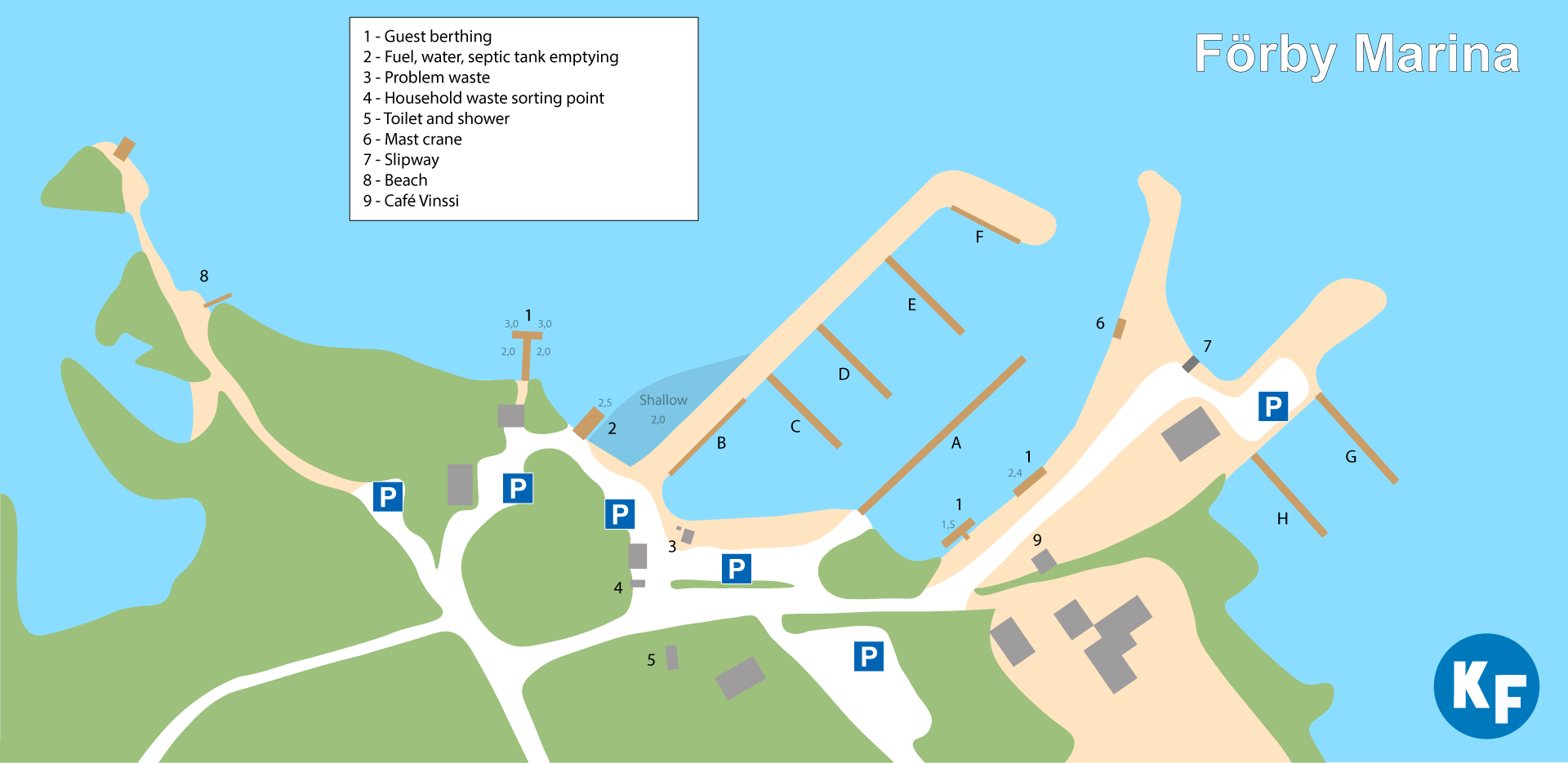 The Förby Marina harbour services for small boats are shown on the map.
