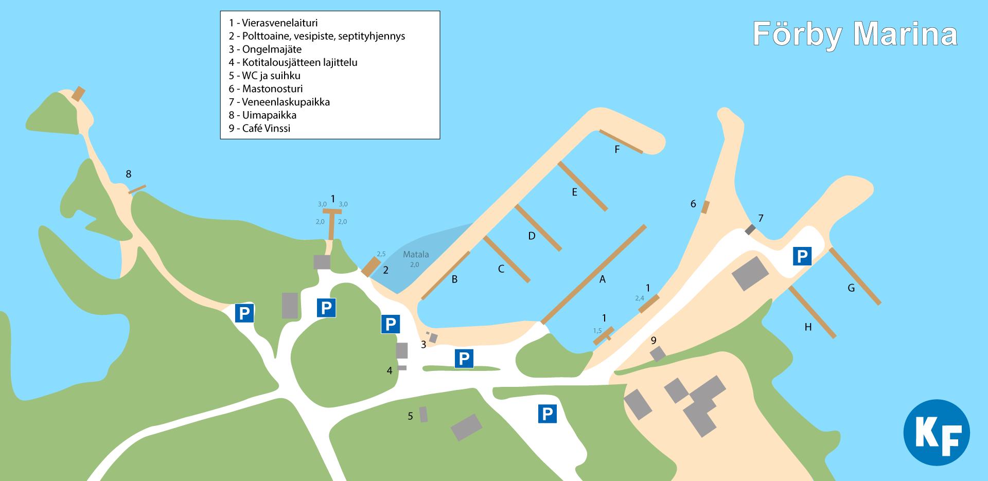 Förby Marinan pienvenesataman palvelut löytyvät  kartalta.