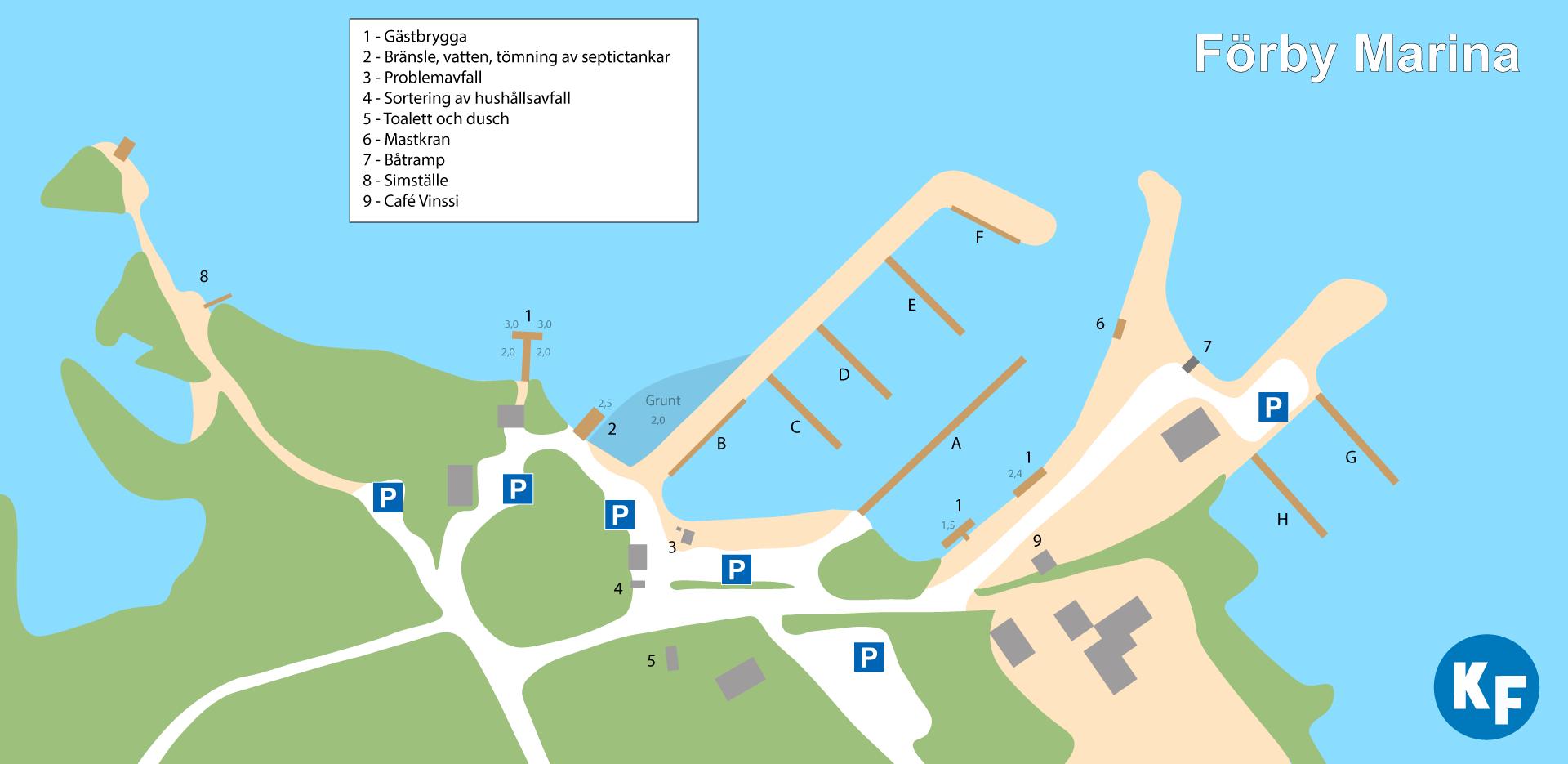 Kartan över hamnen visar de olika service punkterna i småbåtshamnen.